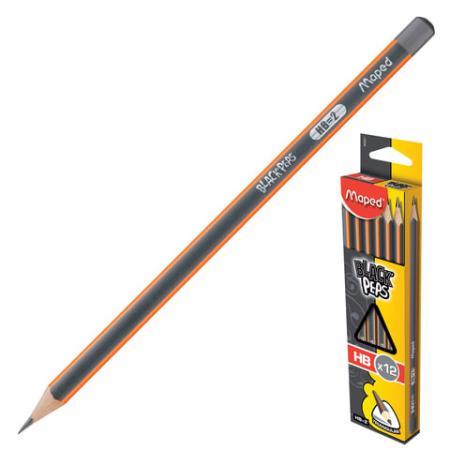 Набор графитовых карандашей Maped Black Pep's 12 шт 175 мм чернографитный набор капиллярных ручек maped graph pep s цвет чернил черный 12 шт