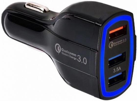 Зарядное устройство автомобильное ORIENT CAR QC-12V3W Quick Charge 3.0, 3xUSB-A: QC выход - 5В,3.0A/ 9В,1.67А/ 12В,1.25А; 2,3 выходы 5В,3.5А