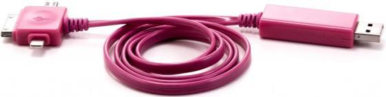 Кабель Gmini GM-MEL400FLPB , светящийся 3 в 1, 1м, розовый кабель+ синая подсветка