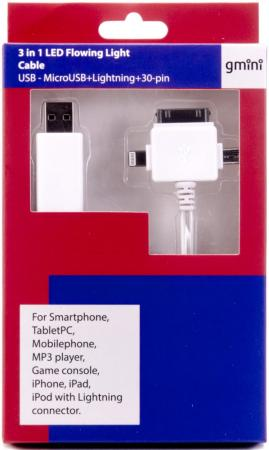 Кабель microUSB Lightning Apple 30-pin 1м Gmini GM-MEL400FLWBL плоский белый кабель usb2 0 microusb partner 1м 2 1a оранж плоский