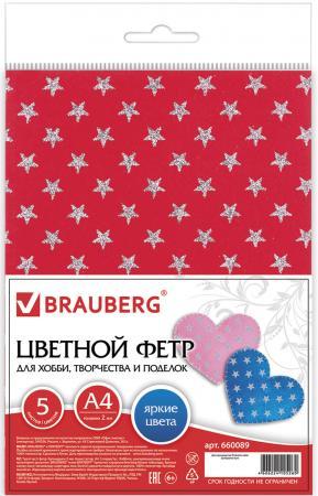 Цветной фетр BRAUBERG 660089 A4 5 листов