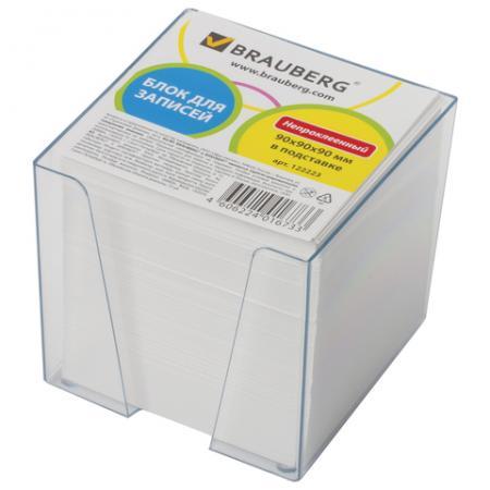 Блок для записей BRAUBERG 90х90х90 мм белый бумага для записей многоцветная index 90х90х90