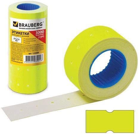 Фото - Этикет-лента 21х12 мм, прямоугольная, желтая, комплект 5 рулонов по 600 шт., BRAUBERG, 123569 кромка marbet трикотаж хлопок 42 х 6 см цвет бежевый 006