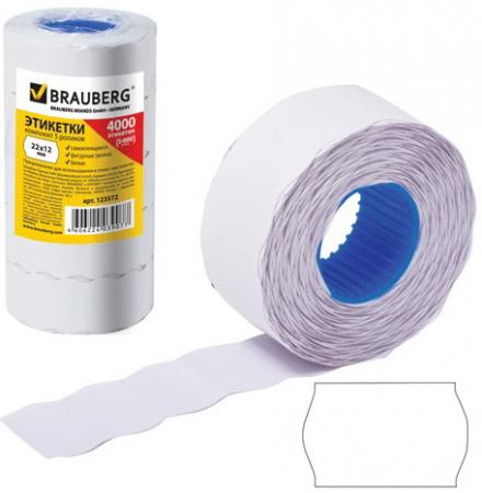 Этикет-лента 22х12 мм, волна, белая, комплект 5 рулонов по 800 шт., BRAUBERG, 123572 этикет ленты brauberg волна 800 шт 5 рулонов белый