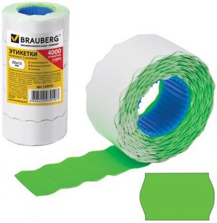 Этикет-лента 22х12 мм, волна, зеленая, комплект 5 рулонов по 800 шт., BRAUBERG, 123575 этикет ленты brauberg волна 800 шт 5 рулонов белый