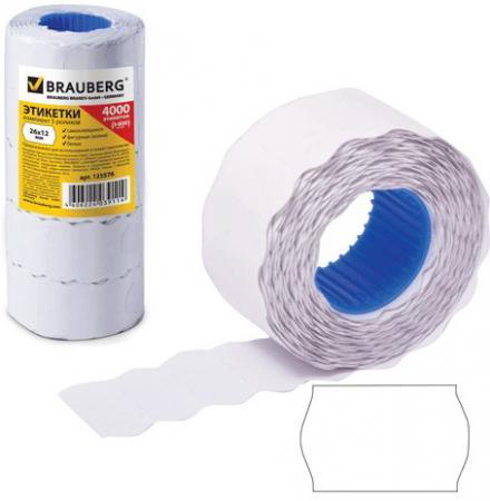 Этикет-лента 26х12 мм, волна, белая, комплект 5 рулонов по 800 шт., BRAUBERG, 123576 этикет ленты brauberg волна 800 шт 5 рулонов белый