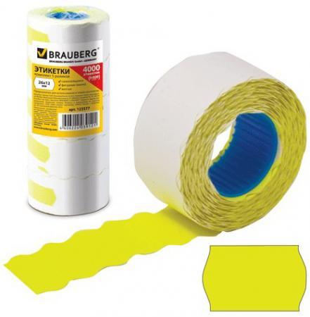 Этикет-лента 26х12 мм, волна, желтая, комплект 5 рулонов по 800 шт., BRAUBERG, 123577 этикет ленты brauberg волна 800 шт 5 рулонов белый
