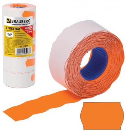 Этикет-лента 26х12 мм, волна, оранжевая, комплект 5 рулонов по 800 шт., BRAUBERG, 123578 этикет ленты brauberg волна 800 шт 5 рулонов белый
