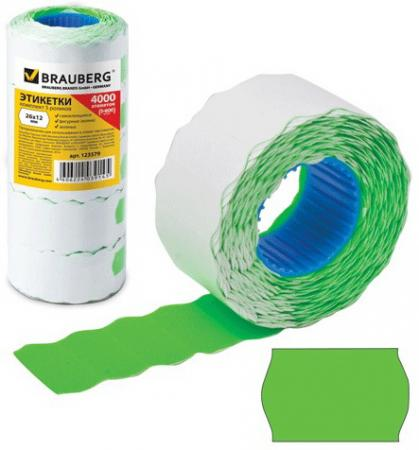 Этикет-лента 26х12 мм, волна, зеленая, комплект 5 рулонов по 800 шт., BRAUBERG, 123579 этикет ленты brauberg волна 800 шт 5 рулонов белый