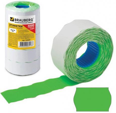 Этикет-лента 26х16 мм, волна, зеленая, комплект 5 рулонов по 800 шт., BRAUBERG, 123583 этикет ленты brauberg волна 800 шт 5 рулонов белый