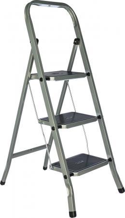 FIT РОС Лестница-стремянка стальная, 3 широкие ступени, Н=105 см, вес 4,7 кг [65382]