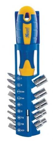KRAFT Набор: отвертка с насадками битами и головками 15 предметов [KT 700403] цены онлайн