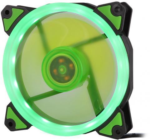 CROWN Вентилятор для компьютерного корпуса CMCF-12025S-1232 (120*120*25мм;Зелёное LED кольцо;1500 об/мин;35CFM;20Дб;Подшипник скольжения;3pin+MOLEX(папа-мама) 40+10см) вентилятор id cooling no 4010 sd 3pin molex 40 40 10 мм 4500об мин 12vdc
