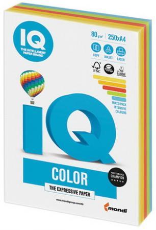 Фото - Бумага IQ color, А4, 80 г/м2, 250 л. (5 цв. x 50 л.), цветная интенсив RB02 бумага цветная iq color а4 160 г м2 100 л 5 цветов x 20 листов микс интенсив rb02