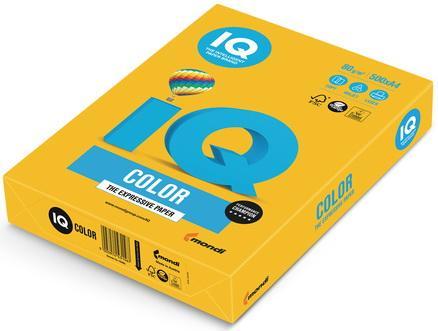 Бумага IQ color, А4, 80 г/м2, 500 л., интенсив, солнечно-желтая, SY40