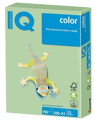 Бумага IQ color, А3, 160 г/м2, 250 л., пастель, зеленая, MG28