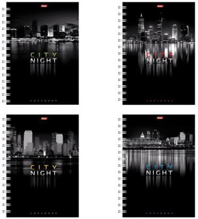 """Тетрадь 96 л., А4 HATBER, гребень, клетка, выборочный лак, """"Ночной город"""", 96Т4влВгр, T43837"""