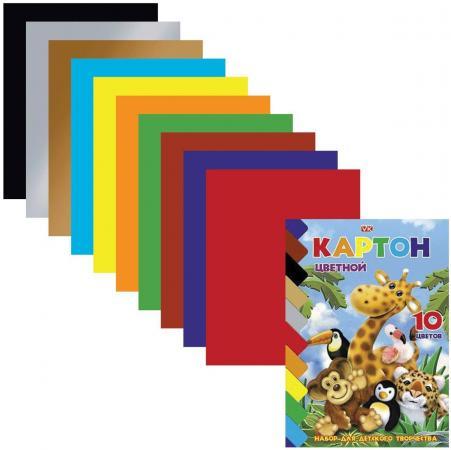 Набор цветного картона Hatber Зоопарк A5 10 листов