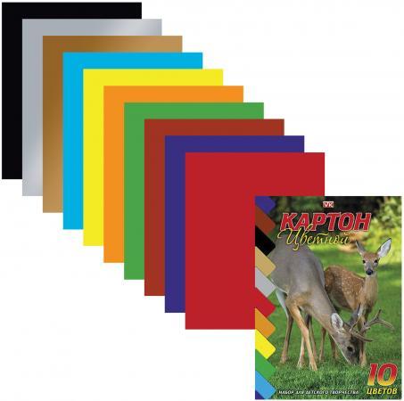 Набор цветного картона Hatber Олени A5 10 листов