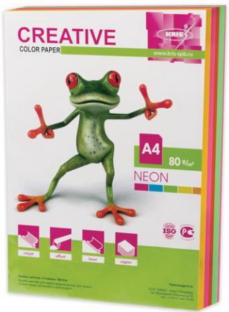 Бумага CREATIVE color (Креатив), А4, 80 г/м2, 250 л. (5 цв. х 50 л.), цветная неон, БНpr-250r цв tsl 78281 50 г