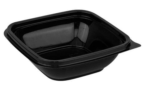 Одноразовый контейнер квадратный, 250 мл, БЕЗ КРЫШКИ, 126х126х38,5 мм, ПЭТ, черный, крышка 604319, СТИРОЛПЛАСТ, СпК-1212-250