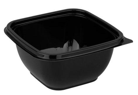 Одноразовый контейнер квадратный, 500 мл, БЕЗ КРЫШКИ, 126х126х60 мм, ПЭТ, черный, крышка 604319, СТИРОЛПЛАСТ, СпК-1212-500