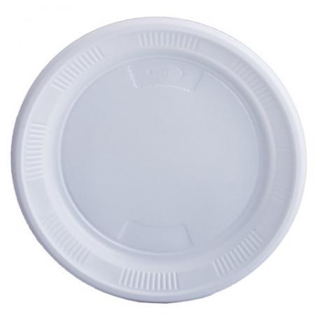 Одноразовые тарелки ЛАЙМА Бюджет, комплект 100 шт., пластиковые, десертные, d=170 мм, белые, ПС, 600942