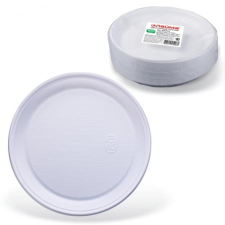 Одноразовые тарелки ЛАЙМА Бюджет, комплект 100 шт., пластиковые, плоские, d=220 мм, белые, ПС, 600943