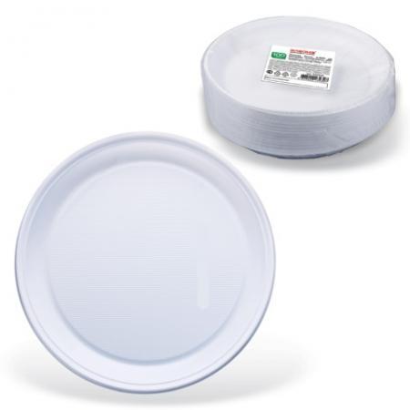 Одноразовые тарелки Стандарт, плоские d=220 мм, комплект 100 шт., ЛАЙМА, белые, ПП, для холодного/горячего, 602649