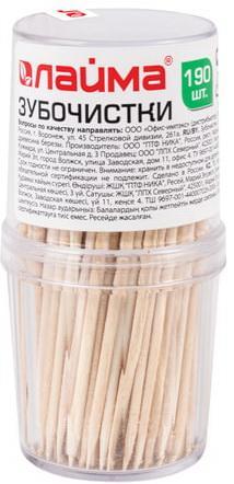 Зубочистки деревянные ЛАЙМА, 190 штук, в диспенсере, 604770