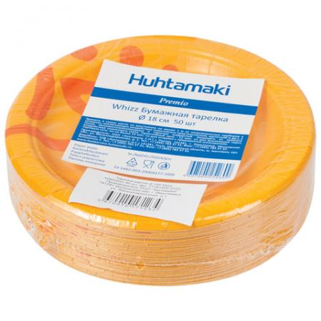 Одноразовые тарелки Хухтамаки, комплект 50 шт., картон, диаметр 180 мм, Whizz, для холодного/горячего