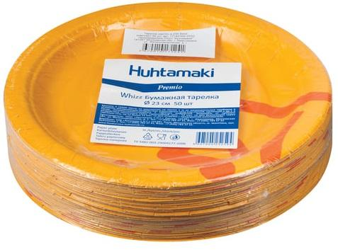 Одноразовые тарелки Хухтамаки, комплект 50 шт., картон, диаметр 230 мм, Whizz, для холодного/горячего