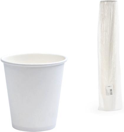 Одноразовые стаканы ФОРМАЦИЯ, комплект 75 шт., бумажные, однослойные, 250 мл, белые, для холодного/горячего, HB80-280-0000