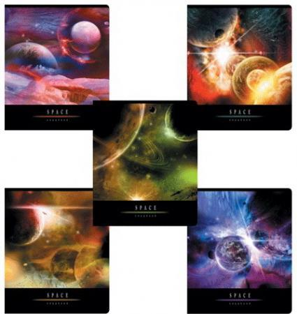 Тетрадь 96 л., ERICH KRAUSE, клетка, обложка мелованный картон, Вселенная, 35494 erich krause тетрадь вселенная 96 листов в клетку цвет цвет черный синий