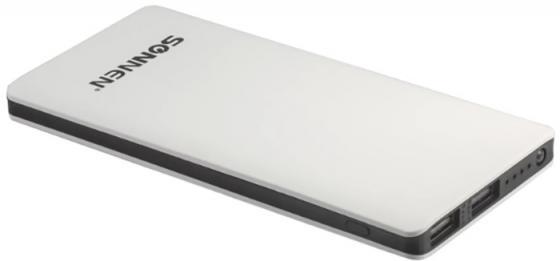 Аккумулятор внешний SONNEN POWERBANK V3802, 6000 mAh, 2 USB, литий-полимерный, бело-черный, 262753 внешний аккумулятор samsung eb pn930csrgru 10200mah серый