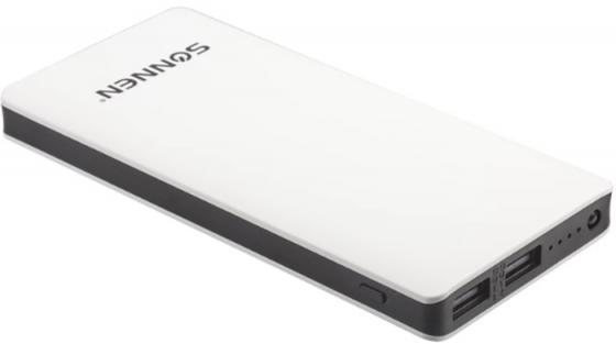 Аккумулятор внешний SONNEN POWERBANK V3802S, 8000 mAh, 2 USB, литий-полимерный, бело-черный, 262755 аккумулятор irbis pb1c25 8000 mah white