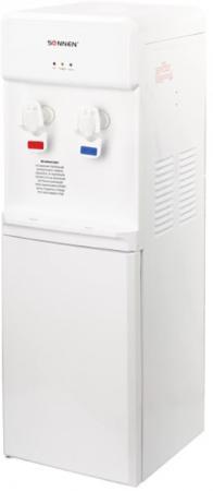 Кулер для воды SONNEN FS-03, напольный, нагрев/компрессорное охлаждение, шкаф, 2 крана, белый, 452421