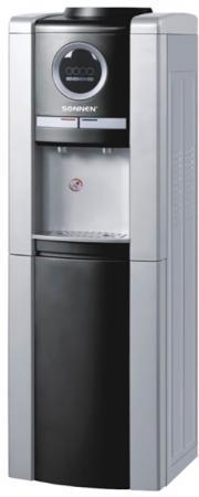 Кулер для воды SONNEN FEB-02, напольный, электронное охлаждение/нагрев, 2 крана, серебристый/черный, 453982