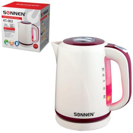 Чайник SONNEN KT-002, 1,7 л, 2200 Вт, закрытый нагревательный элемент, пластик, бежевый/красный, 451711 чайник sonnen kt 1767 453416