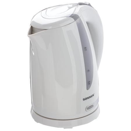 Чайник SONNEN KT-1743, 1,7 л, 2200 Вт, закрытый нагревательный элемент, пластик, белый, 453414 чайник sonnen kt 1767 453416