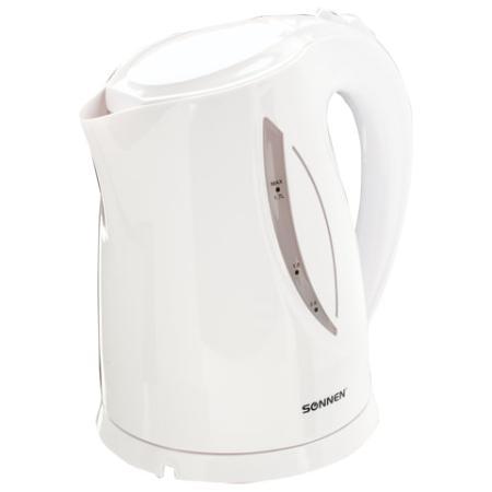 Чайник SONNEN KT-1758, 1,7 л, 2200 Вт, закрытый нагревательный элемент, пластик, белый, 453415 чайник sonnen kt 1767 453416