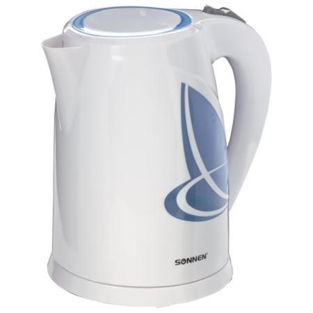Чайник SONNEN KT-1767, 1,8 л, 2200 Вт, закрытый нагревательный элемент, пластик, белый/синий, 453416 чайник sonnen kt 115