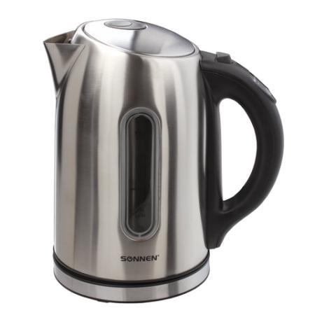 Чайник SONNEN KT-1740, 1,7 л, 2200 Вт, закрытый нагревательный элемент, терморегулятор, нержавеющая сталь, 453421 чайник sonnen kt 1767 453416