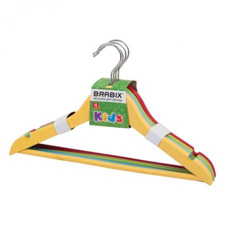 Вешалки-плечики BRABIX, детские, комплект 4 шт., дерево, 36 см, цвет ассорти (красный, желтый, синий, зеленый), 601175