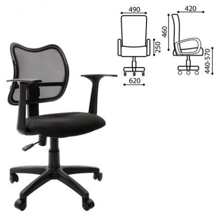Кресло BRABIX Drive MG-350, с подлокотниками, черное TW, 531394 кресло оператора brabix drive mg 350 с подлокотниками черное синее tw 531392