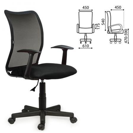 """Кресло BRABIX """"Spring MG-307"""", с подлокотниками, черное, TW, 531406"""