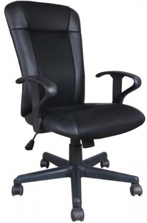 Фото - Кресло BRABIX Optima MG-370, с подлокотниками, экокожа/ткань, черное, 531580 кресло brabix stream mg 314 без подлокотников пятилучие серебристое экокожа бежевое 532078