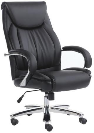 Кресло офисное BRABIX Advance EX-575, хром, экокожа, черное