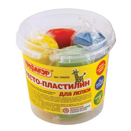 Тесто для лепки ПИФАГОР Пластилин 4 цвета