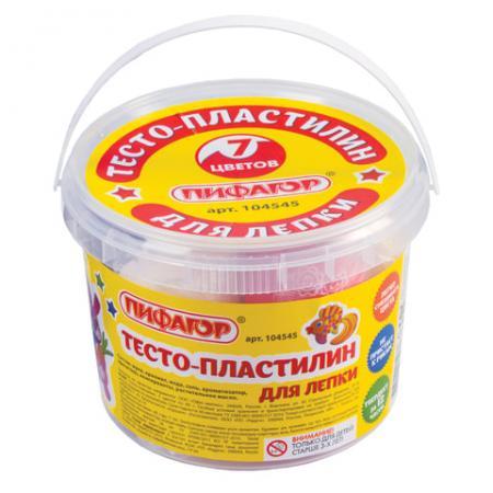 Тесто для лепки ПИФАГОР Пластилин 7 цветов